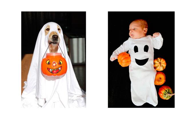 Disfraz de fantasma para bebé y perro