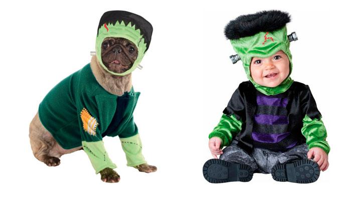Disfraz de Frankestein para bebé y perro