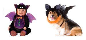 Disfraz de murciélago para bebé y perro