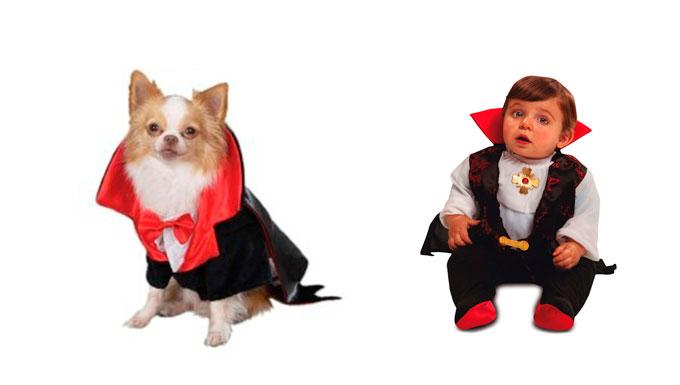 Disfraz de vampiro para bebé y perro