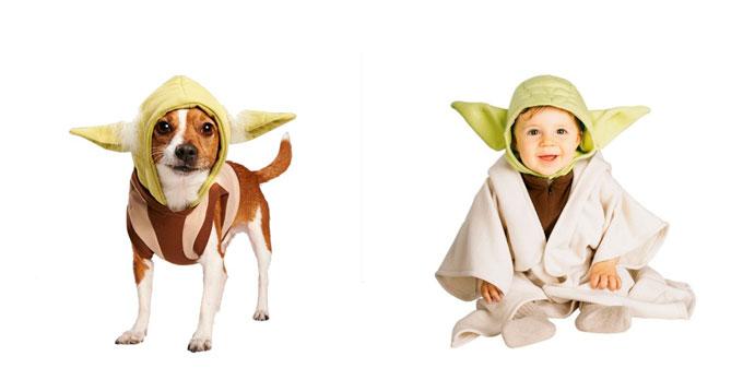 Disfraz de Yoda para bebé y perro