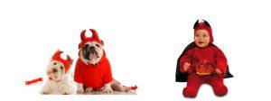 Disfraz de demonio para bebé y perro